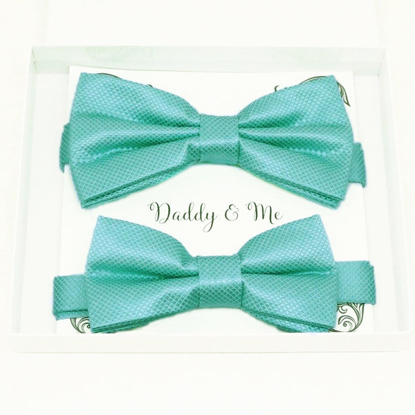 Turquoise blue Bow tie set for daddy and son, Daddy me gift set, Grandpa and me, Father son matching, Toddler bow tie, daddy me bow tie gift