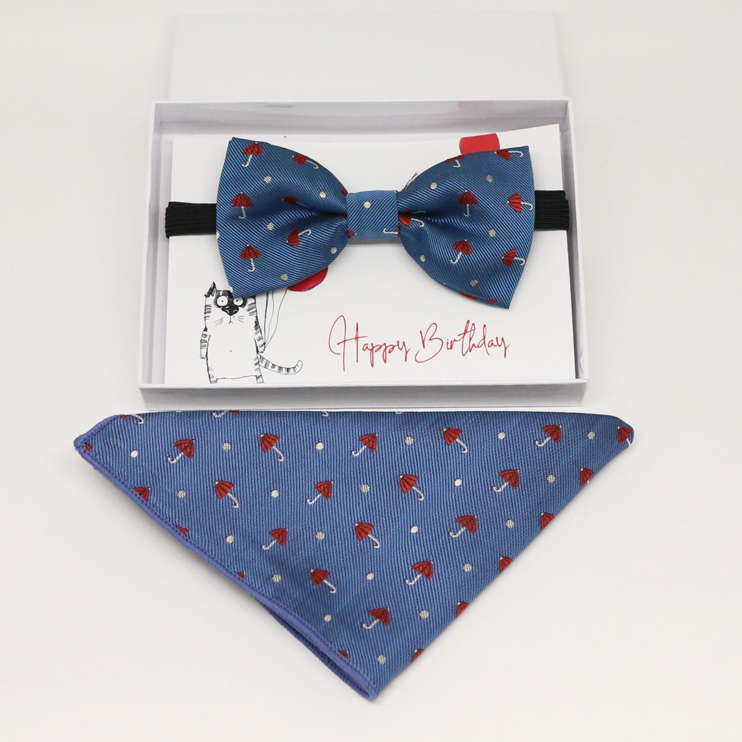 Kids bow tie & Pocket Square, ring breaer bow, birthday gift, Congrats grad, handkerchief, umberella, Blue bow tie