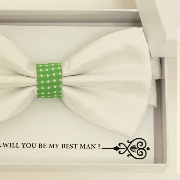 White Green bow tie, Best man request bow, Groomsman bow tie, Ring Bearer bow tie, Man of honor gift, Kids bow tie, Man of honor bow