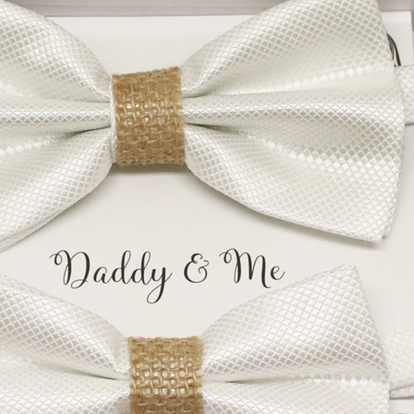 White burlap Bow tie set for daddy and son, Daddy me gift set, Grandpa and me, Father son match, White kids Toddler bow tie, Burlap bow tie