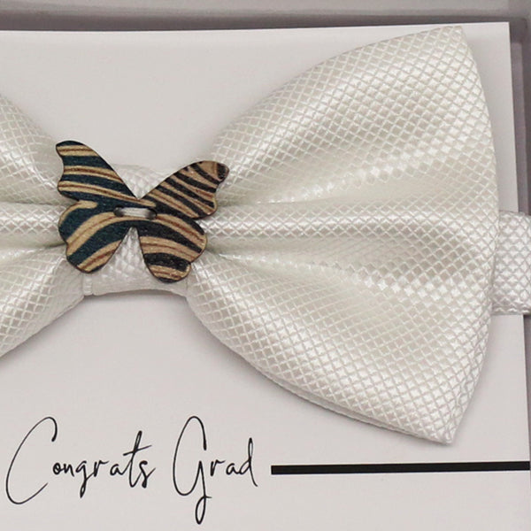 White wooden butterfly bow tie, Best man request gift, Groomsman bow, handmae Ring Bearer bow, Man of honor gift, White kids toddler bow tie