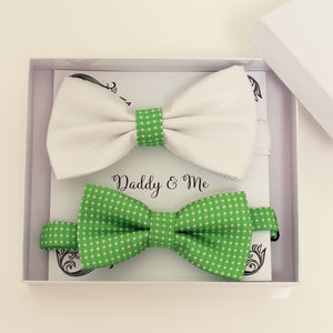 White and green bow tie set for daddy and son, Daddy and me gift set, Father son matching, green kids bow tie, daddy me bow, handmade