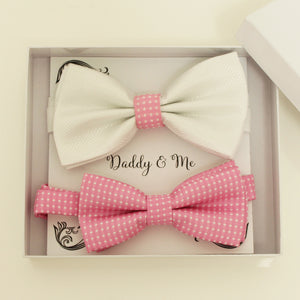 White and pink bow tie set for daddy and son, Daddy and me gift set, Father son matching, Pink kids bow tie, daddy me bow, handmade bow tie