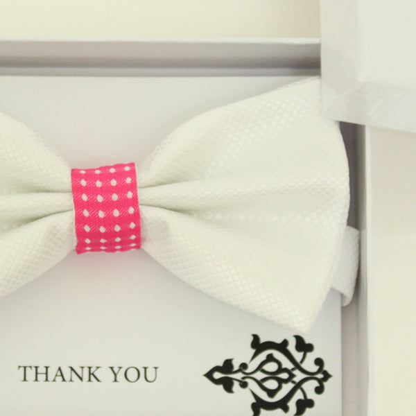 White bow tie, Best man request bow, Groomsman bow tie, Ring Bearer bow tie, Man of honor gift, Kids bow, White hot pink bow tie, handmade