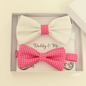Hot pink bow tie set for daddy and son, Daddy and me gift set, Father son matching, Hot pink kids bow tie, daddy me bow, handmade bow tie