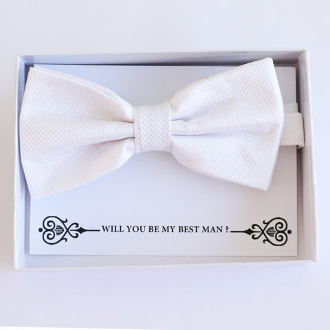 White bow tie, Best man request gift, Groomsman bow tie, Ring Bearer bow tie, Man of honor gift, baby announcement, toddler White bow tie