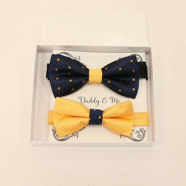 Navy Yellow bow tie set for daddy and son, Daddy and me gift set, Grandpa and me, Father son match, Yellow bow tie for kids, handmade bow