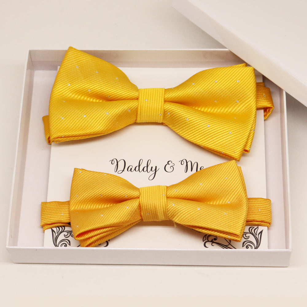 Sunny Yellow Bow tie set for daddy and son, Daddy me gift set, Grandpa and me, Father son matching, Toddler bow tie, daddy me bow tie gift