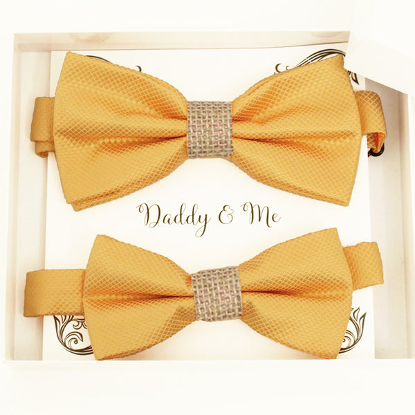 Yellow burlap Bow tie set for daddy and son Daddy me gift set Father son match Handmade Yellow burlap kids bow Adjustable pre tied bow