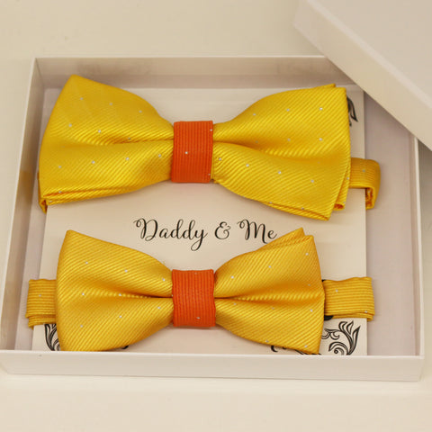 Sunny Yellow and Burnet orange Bow tie set for daddy and son, Daddy me gift set, Grandpa and me, Father son match, Toddler bow, Color year