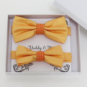 Yellow orange bow tie set for daddy and son, Daddy and me gift set, Grandpa and me, Father son matching, Toddler bow tie, daddy and me bow