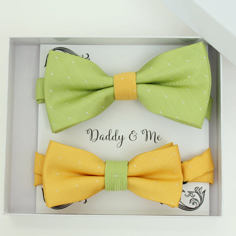 Yellow and lime green bow tie set for daddy and son, Daddy and me gift set, Handmade bow tie set, yellow kids bow tie, lime green bow tie