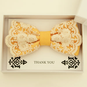 Yellow lace bow tie,  Handmade lace bow tie, Thank you gift, Pre-Tied Bow Tie, best man bow tie, ring bearer bow tie gift, Yellow bow tie