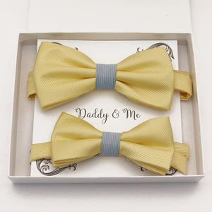 Sunlight yellow Bow tie set daddy son, Daddy and me gift, Grandpa and me, Father son matching, Kids bow tie, Kids adult bow tie, High quality