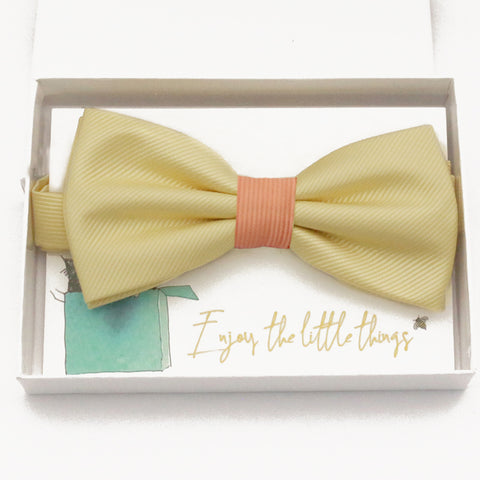Sunlight yellow peach bow tie Best man Groomsman Man of honor ring bearer request gift, Kids adult bow, Adjustable Pre tied High quality, Birthday Congrats