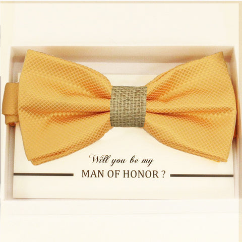 Yellow burlap bow tie, Best man request gift, Groomsman bow tie, Man of honor gift, Best man bow tie, best man gift, man of honor request