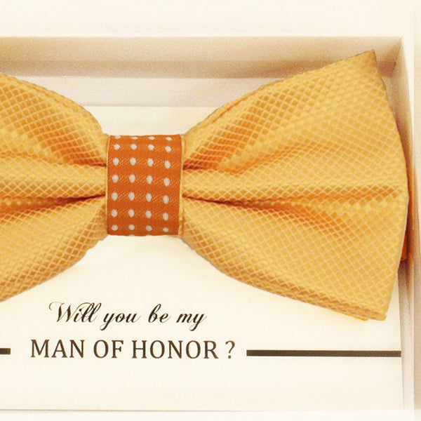 Yellow orange bow tie Best man Groomsman Man of honor ring bearer request gift, Birthday congrats card,  Kids adult bow, Adjustable Pre tied