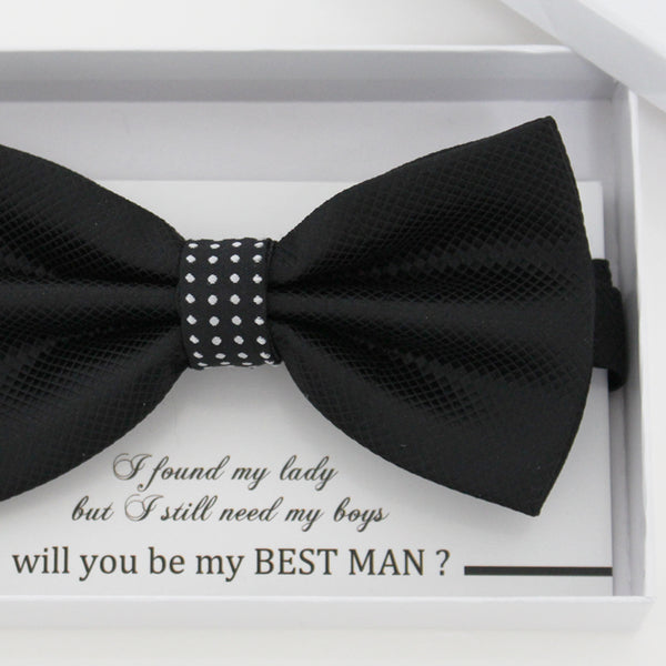 Black bow tie, Best man request gift, Groomsman bow tie, Ring Bearer bow, Man of honor gift, baby announcement, toddler bow, handmade bow