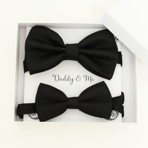 Black Bow tie set for daddy and son, Daddy and me gift set, Grandpa and me, Father son matching, black Kids bow tie, daddy and me bow tie