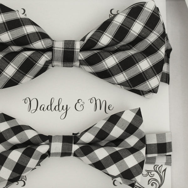 Plaid Black white Bow tie set for daddy and son, Daddy me gift set, Grandpa and me, Father son matching, Kids bow tie, daddy me bow tie gift