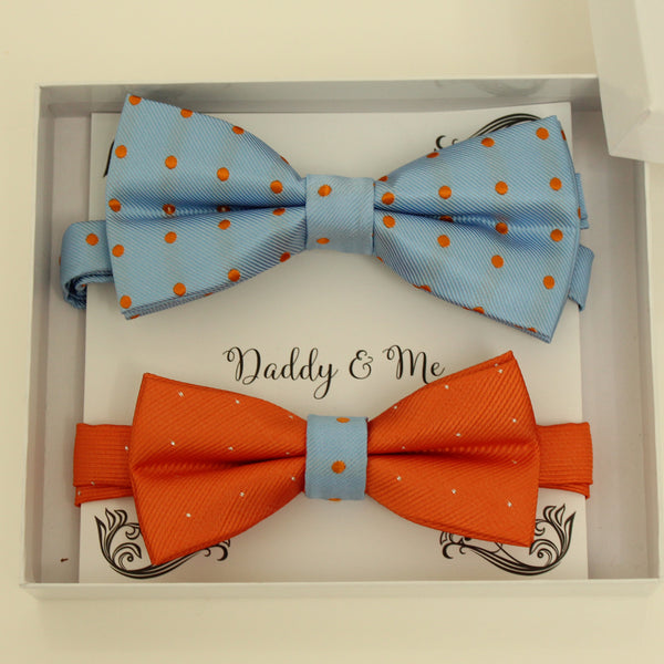 Blue and burnt orange Bow tie set for daddy and son, Daddy me gift set, Grandpa and me, Father son matching, daddy me bow tie, Handmade bow