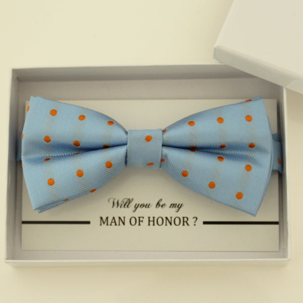 Blue orange bow tie, Best man request gift, Groomsman bow tie, Man of honor gift, Best man bow tie, best man gift, man of honor request bow