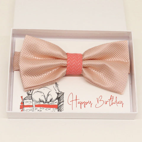 Pearl blush coral bow tie Best man Groomsman Man of honor Ring Bearer bow request gift, Adjustable Pre tied Birthday congrats handmade bow