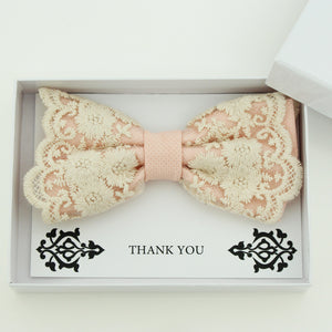 Blush lace bow tie,  Handmade lace bow tie, Thank you gift, Pre-Tied Bow Tie, best man bow tie, ring bearer bow tie gift