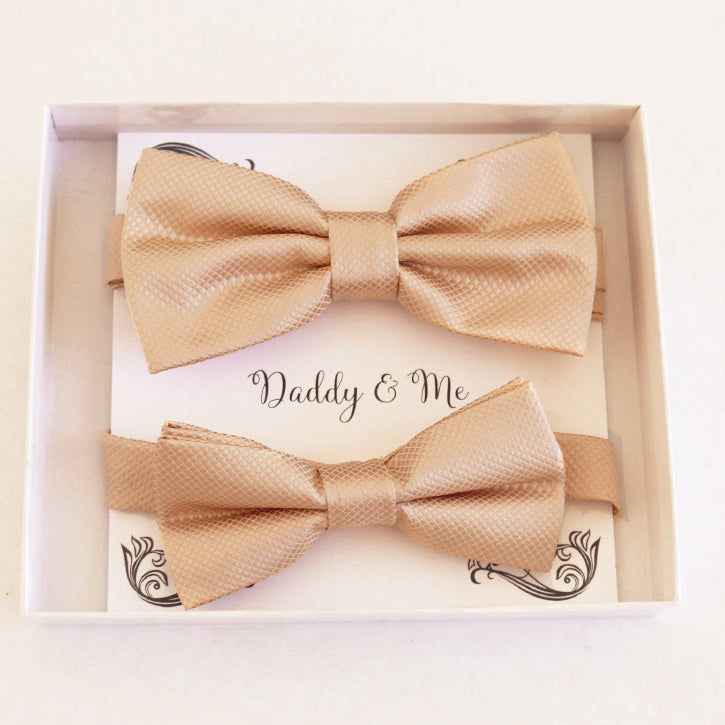Champagne Bow tie set for daddy and son Daddy me gift set Grandpa Father son matching Adjustable pre tied bow, Toddler bow tie