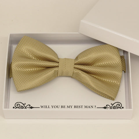 Champagne bow tie, Best man request gift, Groomsman bow tie, Ring Bearer bow tie request, Man of honor gift,best man request, toddler bow