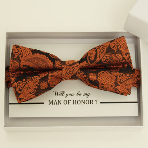 Copper Paisley bow tie, Best man request gift, Groomsman bow tie, Man of honor gift, Best man bow tie, man of honor, Thank you, Copper bow
