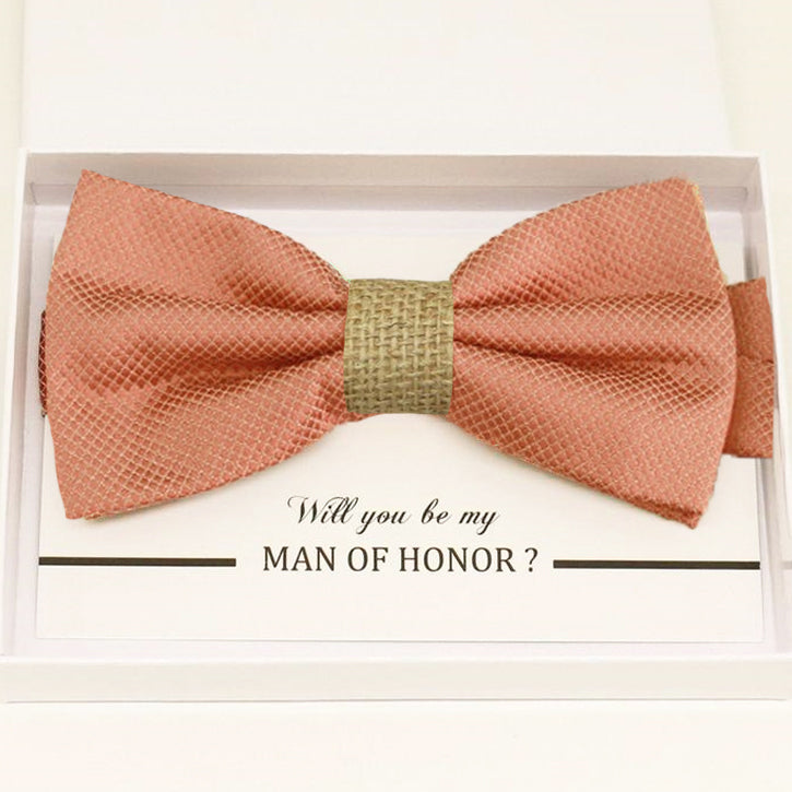 Copper bow tie Best man Groomsman Man of honor Ring Bearer bow request gift Adjustable Pre tied Birthday congrats cards handmade Burlap bow