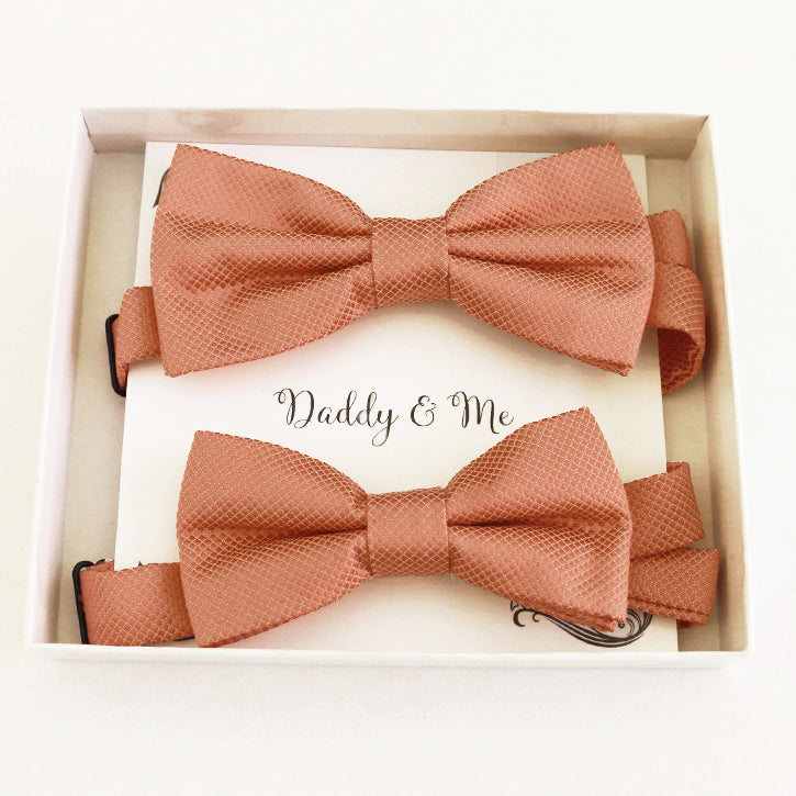 Copper Bow tie set for daddy and son, Daddy me gift set, Grandpa and me, Father son matching bow, Copper kids bow tie, copper wedding bow