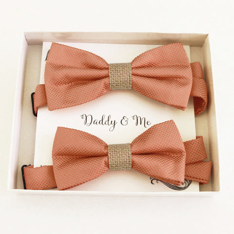Copper burlap Bow tie set daddy son Daddy and me gift Grandpa and me Kids adult bow tie Adjustable pre tied bow Handmade Daddy son gift set