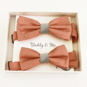 Copper and silver bow tie set for daddy and son, Daddy and me gift set, Grandpa and me, Father son matching, Toddler bow tie, handmade bow