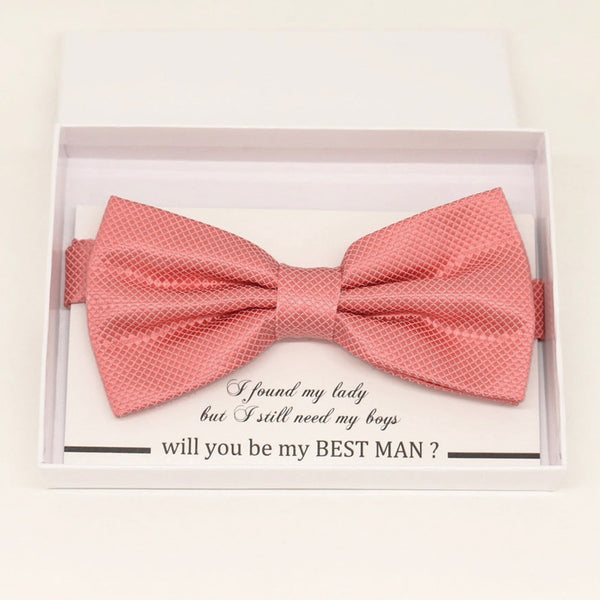 Coral bow tie Best man Groomsman Man of honor ring bearer request gift, Kids adult bow, Adjustable Pre tied High quality, Birthday