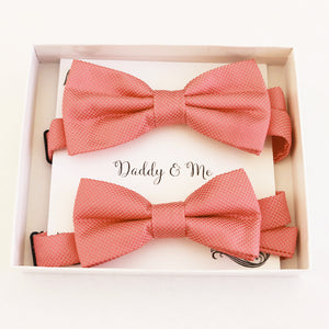 Coral blush Bow tie set for daddy and son, Daddy me gift set, Father son match daddy me bow Handmade Coral kids bow Adjustable pre tied bow
