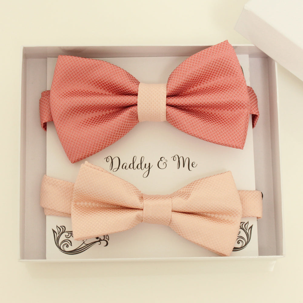 Coral and blush bow tie set for daddy and son, Daddy and me gift set, Father son matching, Blush kids bow tie, daddy me bow, handmade bow