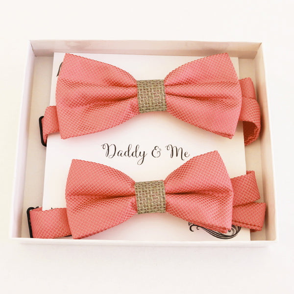 Coral burlap Bow tie set for daddy and son Daddy me gift set Father son match Handmade Coral kids bow Adjustable pre tied bow