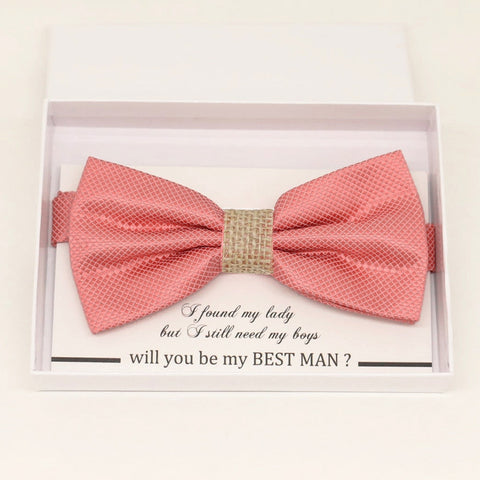 Coral burlap bow tie Best man Groomsman Man of honor ring bearer request gift, Kids adult bow tie, Adjustable Pre tied High quality