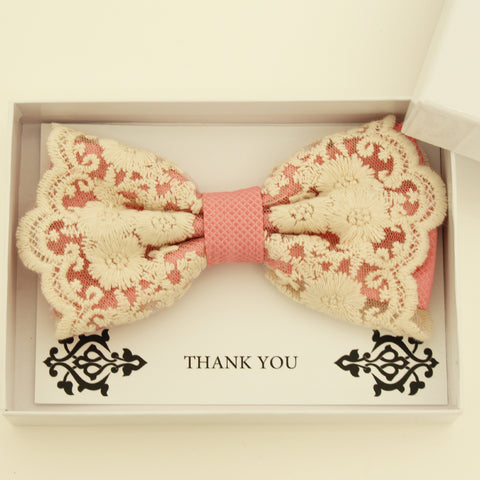 Dusty rose lace bow tie,  Handmade lace bow tie, Thank you gift, Pre-Tied Bow Tie, best man bow tie, ring bearer bow tie gift