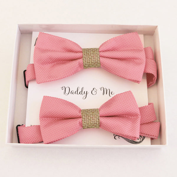 Dusty rose Bow tie set for daddy son, Daddy me gift set Father son match daddy me bow Handmade Dusty rose kids bow Adjustable pre tied bow