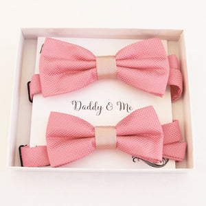 Dusty Rose bow tie set for daddy and son, Daddy me gift set, Grandpa me, Father son matg, Toddler kids handmade bow Adjustable pre tied bow