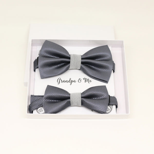 Charcoal gray Bow tie set for daddy and son, Daddy me gift set, Grandpa and me, Father son match, charcoal Toddler Kids bow, daddy me bow