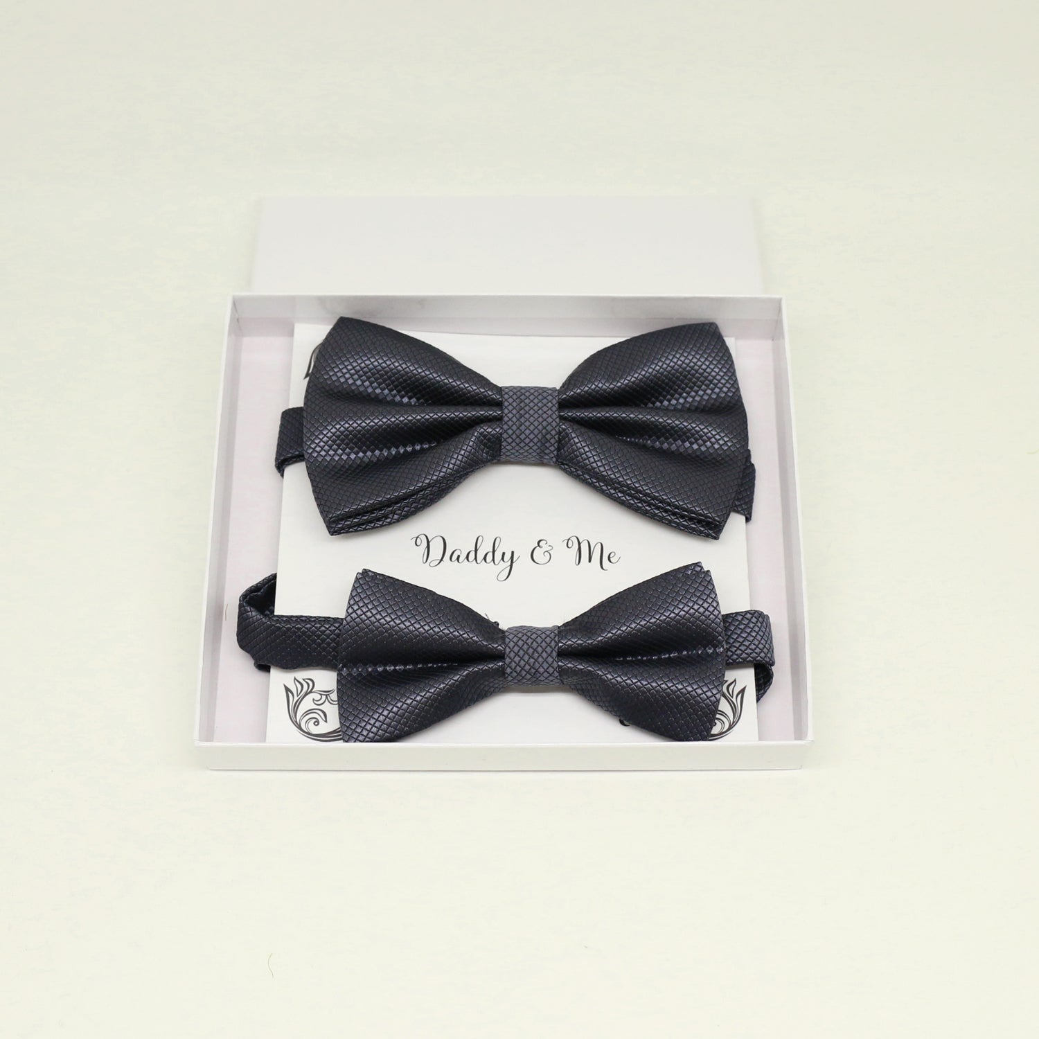 Charcoal Bow tie set for daddy and son, Daddy me gift set, Grandpa and me, Father son match, charcoal Toddler Kids bow, daddy me bow tie