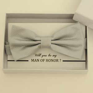 Gray bow tie, Best man request bow, Groomsman bow tie, Ring Bearer bow tie, Man of honor gift, Gray kids bow tie, Man of honor bowtie