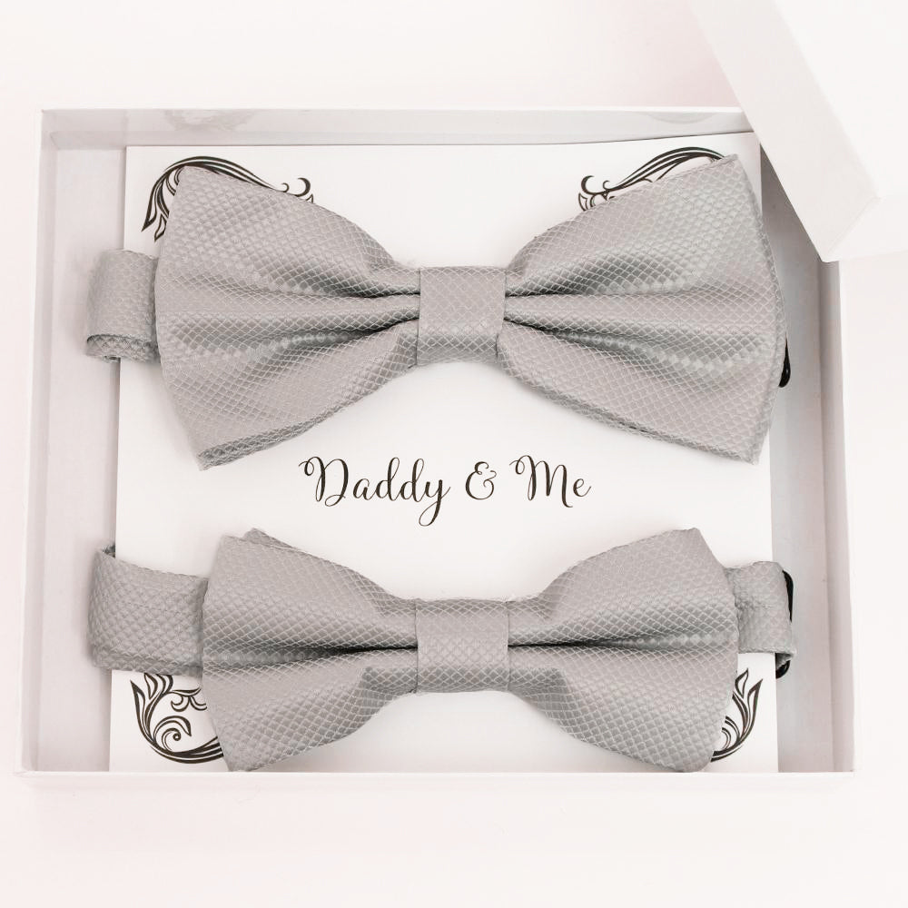 Gray Bow tie set for daddy and son, Daddy me gift set, Grandpa and me bow, Father son matching, Gray Kids bow tie, daddy me bow tie gift