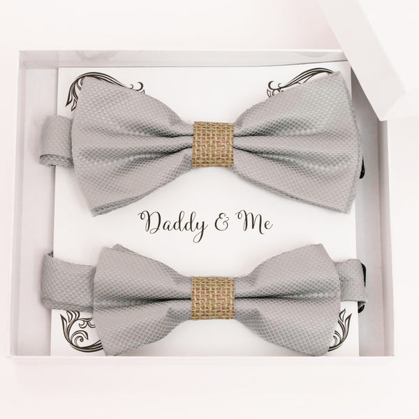 Gray burlap Bow tie set for daddy and son, Daddy me gift set, Grandpa and me bow, Father son matching, Gray Kids bow tie, daddy me bow tie gift
