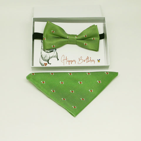 Green Kids bow tie & Pocket Square, ring breaer bow, birthday gift, Congrats grad, handkerchief, Green bow tie, Dog lovers