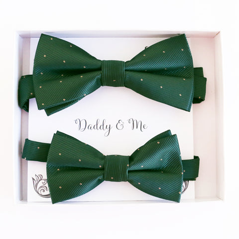 Green Bow tie set for daddy son Daddy me gift set Father son match daddy me bow Handmade kids bow Adjustable pre tied bow, High quality
